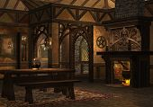 image of dwarf  - 3D rendered dwarf cottage with fireplace on evening - JPG
