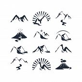 foto of magma  - Set of icons with various alpine silhouettes - JPG