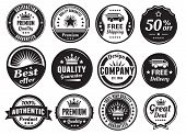 image of high-quality  - Twelve scalable badges in dark color and vintage style.
