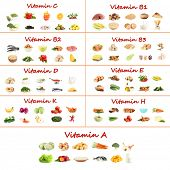 image of chickpea  - Collage of various food products containing vitamins - JPG