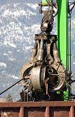 picture of railcar  - Scrap metal being dumped into a railcar - JPG