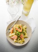 stock photo of pesto sauce  - pasta with shrimp and pesto sauce - JPG