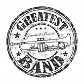 stock photo of rubber band  - Black grunge rubber stamp with trumpet and the text greatest band written inside the stamp - JPG