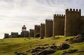 stock photo of medieval  - Scenic medieval city walls of Avila Spain UNESCO list - JPG