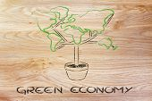 Green Economy: Symbol Of Tree With Contintents As Leaves