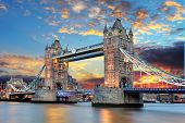 stock photo of illuminated  - Tower Bridge in London UK at sunset - JPG