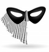 stock photo of mummer  - carnival black half mask decorated with half veil - JPG