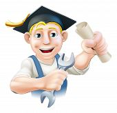 picture of convocation  - A plumber or mechanic with mortar board graduate cap with diploma certificate or other qualification - JPG