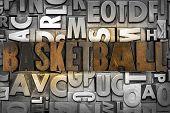 picture of ncaa  - The word BASKETBALL written in vintage letterpress type - JPG