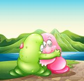 Illustration of a green and a pink monster hugging each other at the riverbank