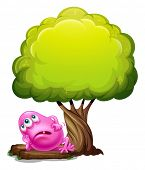 Illustration of a fat pink beanie monster resting under the giant tree on a white background