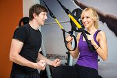 Sportswoman exercising with a resistance band at gym