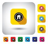 House Or Home Sign On Button - Flat Design Vector Icon