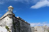 stock photo of el morro castle  - Detail of the fortress El Morro in Havana Cuba - JPG