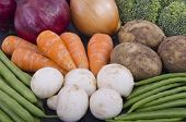 stock photo of mange-toute  - A selection of fresh healthy vegetables promoting a healthy diet - JPG