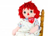 image of rag-doll  - Old rag doll with heart lollipop isolated on white - JPG