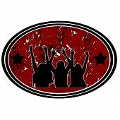 picture of bachelor party  - party time grunge stamp with happy people - JPG
