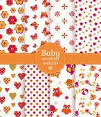 picture of girlie  - Collection of colorful baby seamless patterns in white orange and pink colors - JPG