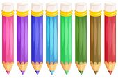 stock photo of pencil eraser  - Illustration of pencils on white - JPG
