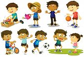pic of tease  - Illustration of kid playing various sports - JPG