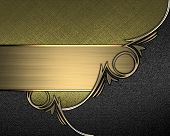 picture of nameplates  - Gold texture with black angles and gold trim and gold nameplate for writing - JPG