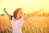 image of wheat-free  - Beauty Girl Outdoors enjoying nature - JPG