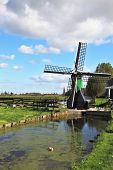 The village - an ethnographic museum in Holland. The picturesque windmill  is reflected in the chann