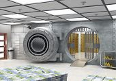 image of vault  - The vault with banknotes and gold bars - JPG