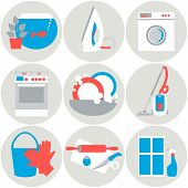 stock photo of homemaker  - House work icons - JPG
