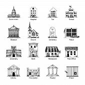 picture of school building  - Government building icons set in hand draw style of post cemetery museum school church theater isolated vector illustration - JPG