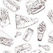 picture of food chain  - Decorative fast food chains restaurants service point pizza hotdog wrap paper seamless pattern doodle sketch vector illustration - JPG