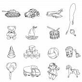 foto of baby doll  - Vintage kids toys sketch icons set of teddy bear doll airplane car isolated vector illustration - JPG