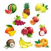 image of tropical food  - Set of Vector Illustration Icons tropical fruits with leaves and flowers - JPG