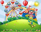 stock photo of hilltop  - Illustration of a clown at the hilltop with a carnival - JPG