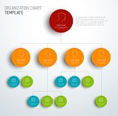 stock photo of hierarchy  - Vector modern and simple organization chart template with profiles - JPG