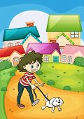 foto of stroll  - Illustration of a lady strolling with her white puppy - JPG