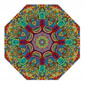 pic of octagon  - Colorful octagonal ornament on a white background - JPG