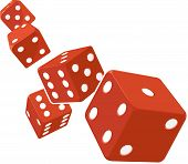 stock photo of gambler  - A vector image of several dice rolling - JPG