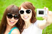 picture of two women taking cell phone  - Selfie - JPG