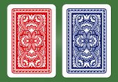foto of red back  - Playing Card Back Designs on green background - JPG