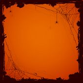 pic of cobweb  - Grunge Halloween background with black spiders illustration - JPG