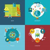 stock photo of math  - Set of flat design concepts of school subjects icons for mobile apps and web design - JPG