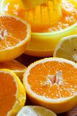image of juicer  - Juicy halved oranges and a juicer in the background as closeup - JPG