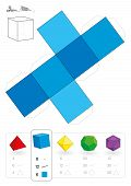 stock photo of handicrafts  - Paper model of a cube or hexahedron - JPG