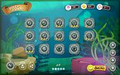 stock photo of jellyfish  - Illustration of a funny submarine sea graphic game user interface background in cartoon style with basic buttons and functions status bar for wide screen tablet - JPG