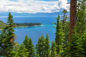 stock photo of emerald  - Famous Emerald Bay, Lake Tahoe California USA