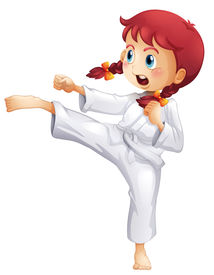 pic of karate-do  - Illustration of a young lady doing karate on a white background - JPG