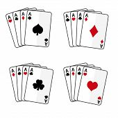 stock photo of ace spades  - sets of playing cards with four aces eps10 - JPG