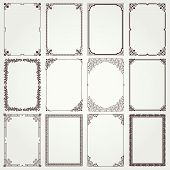 stock photo of four  - Decorative vintage frames and borders set  - JPG