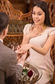 pic of propose  - Man is making proposal with the ring to his girlfriend at the restaurant - JPG